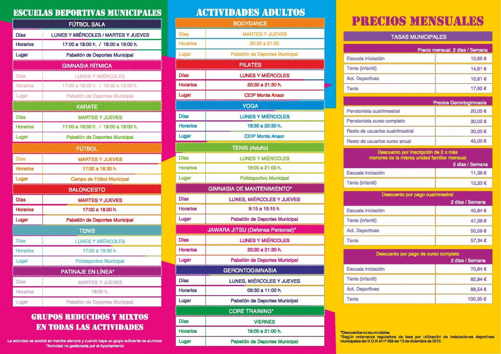ACTIVIDADES DEPORTIVAS 2017/2018